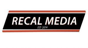 very basic recal ribbon style logo